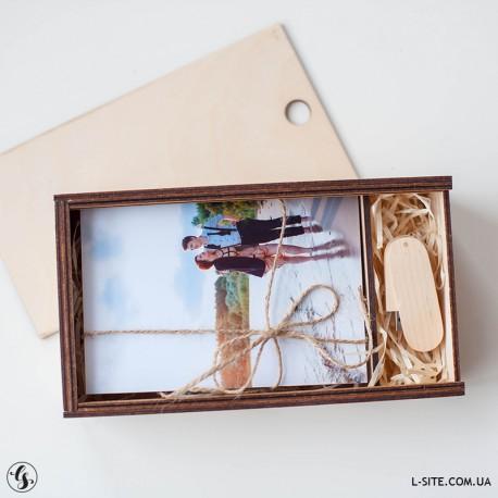 Короб для фотографий прямоугольный с отделением для флешки
