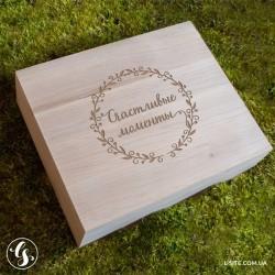 Деревянный короб для фотографий прямоугольный с отделением для флешки
