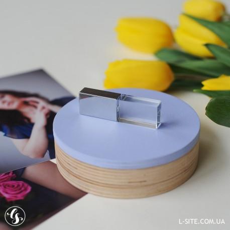 Набор флешка стеклянная  + коробка для флешки круглая