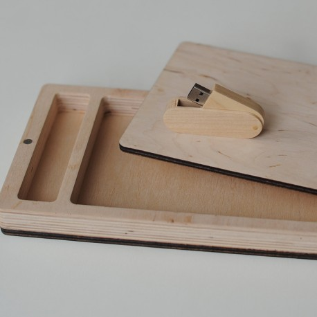 Набор флешка деревянная и фанерный короб для фото и флешки со съемной крышкой