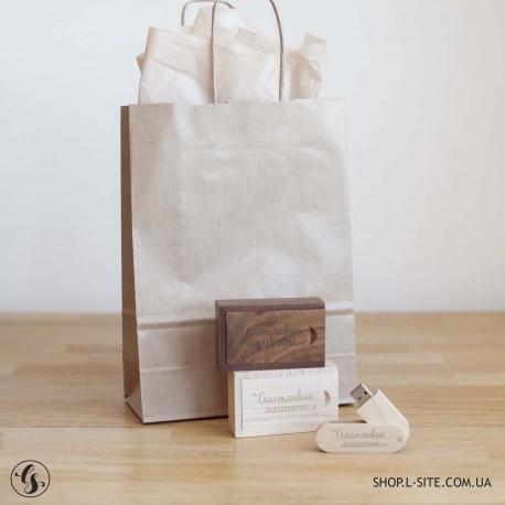 Набор флешка + коробка деревянная с выдвижной крышкой