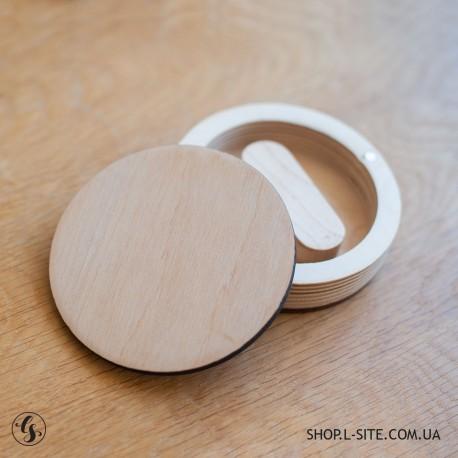 Короб фанерный для флешки круглый со съемной крышкой