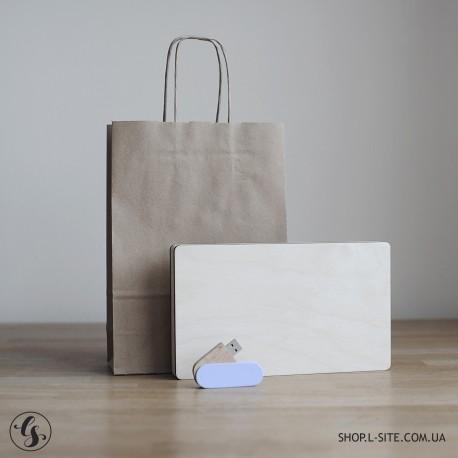 Набор цветная флешка + фанерный короб для фото и флешки со съемной крышкой