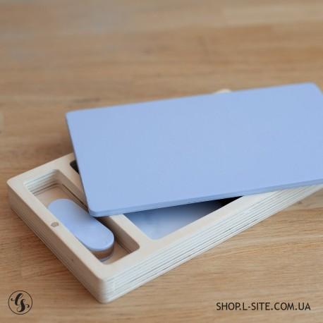 Набор цветная флешка + цветной фанерный короб для фото и флешки со съемной крышкой