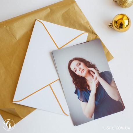 Конверт для фото 10х15 с золотым обрамлением