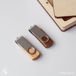 Деревянно-металлическая флешка поворотная