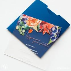 Подарочный сертификат из пластика с цветами