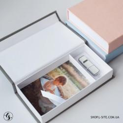 Набор кожаная флешка + коробка для фото и флешки с крышкой из итальянского кожзама