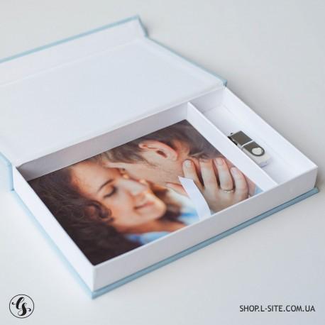 Набор флешка + коробка для фото и флешки с крышкой из итальянского кожзама