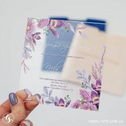 """Подарочный сертификат из пластика """"Сиреневые цветы"""""""