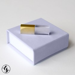 """Набор стеклянная флешка """"Золото"""" + коробка из итальянского кожзама"""