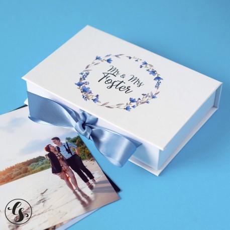 Коробка для фотографий с печатью вашего текста на крышке