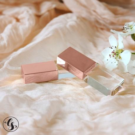 Стеклянная флешка со стандартной гравировкой, розовое золото крышка