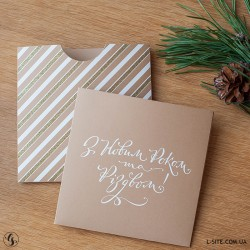 Золотой новогодний конверт для диска с вырезом